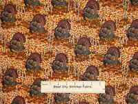 "Turkey Thanksgiving Bird Fowl Turkeys Animal Harvest Fall Cotton Fabric ~ 19"""