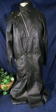 EUC Vintage 80s Black Leather CLOUT Belted Trench Coat Lace Back Duster Sz M