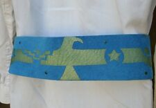 Vintage Blue Suede Eagle Belt Blue Leather Western Turquoise Native Folk Art