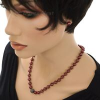 CROFT & BARROW Women's Faux PEARL RED NECKLACE & EARRING SET with JET Gray BEADS