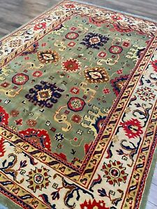 Modern Green Oushak Rug Handmade in India, Thick Soft Pile, High Quality, 8x10