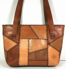 Patricia Nash Brown Patchwork Whip Stitch Multi Compartment Leather Tote Bag