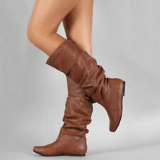 Ladies Womens Leather Knee High Boots Riding Wide Leg Stretchy Flat Shoes Size