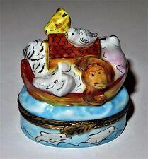 LIMOGES BOX ~ NOAH'S ARK & ANIMALS ~ELEPHANT~ MONKEY ~GIRAFFE~ LION ~ PEINT MAIN