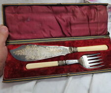 early silver plate FISH SET / ornate embossed knife & fork original box ca 1890