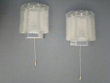 ZWEI DORIA EISGLAS WANDLEUCHTEN 60/70er JAHRE TOP ZUSTAND iceglas