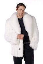 Real Natural White Fox Fur Jacket Coat for Men - Shawl Collar