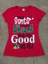 NWT Womens Juniors Red Hey Santa Short Sleeve Top T-Shirt XL