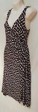 Size 10 OJAY sleeveless surplice faux wrap dress V back white black midi