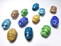 12 Egyptian Faience Scarab Carved Hieroglyph Beads XXS lux Pendant Stone (205)