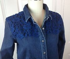 NWOT MiH JEANS Oversized Denim Shirt/Top INDIGO EMBROIDERY Woman' Size Small
