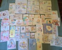 Vintage 1940's & 50's Lot Baby Shower Ephemera Greeting  Cards Paper Crafts