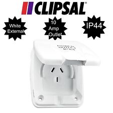 CLIPSAL WHITE EXTERNAL 10AMP POWER OUTLET 3 PIN - RV, CARAVAN, ELECTRICAL