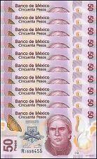 Mexico 50 Pesos X 10 Pieces (PCS), 2015, P-123A, UNC, Series-Q, Polymer