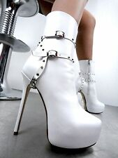 CQ COUTURE ANKLE CUSTOM PLATFORM BOOT STIEFEL STIVALI CHAIN STUD WHITE BIANCO 43