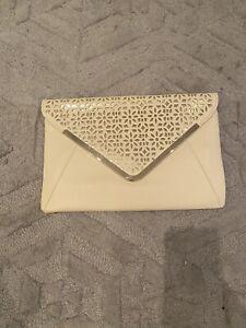 Cream Ladies Envelope Clutch Bag