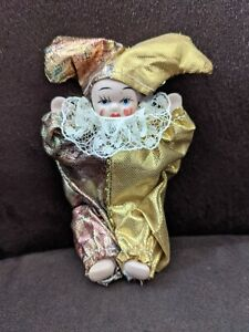 Jester Clown ALL Porcelain Body DOLL Sitting Gold Hat Harlequin Figure Mini 3""
