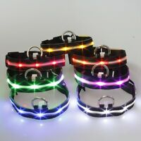 LED Dog Collar Flashing Luminous Pet Adjustable Nylon Safety Light Up Tag Collar