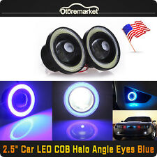 "2x 2.5"" COB LED White Fog Light Projector + Blue Halo Ring Angel Eye DRL Bulb US"