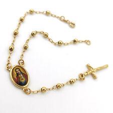 "Unisex Religion Yellow Gold Filled Jesus Cross Pendant Beads Chain Bracelet 8"""
