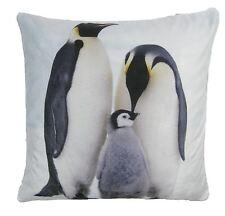 """Noël hiver pingouins bleu noir souple velours housse de coussin 17"""" - 43CM * rap *"""