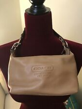 Coach Beige Leather Hangbag Purse Small