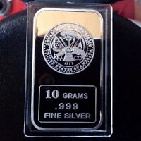 Department of the Army design 10 grams .999 Fine Solid Silver Bullion Bar, NEW!