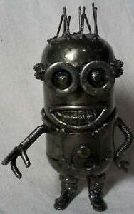 Dispicable Me Minion 6 Inch Recycled Scrap Metal Sculpture Art Hand Made RARE