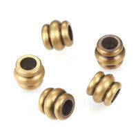 10pcs Brushed Brass Column Metal Beads Grooved Loose Spacers Antique Bronze 6mm