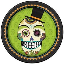 HALLOWEEN Day of the Dead LARGE PAPER PLATES (8) ~ Birthday Party Supplies Lunch