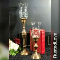 "Antiqued Brass Vintage Candleholders with glass Hurricane Shades 19"" / 13"" SET"