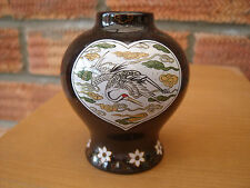 Miniature Japanese Vase with Herons/Cranes inside Heart Shaped Motif.
