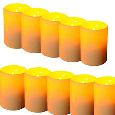 10x IndoorOutdoor Resin Pillar Flameless LED Candle Lights with 4 & 8 Hour Timer