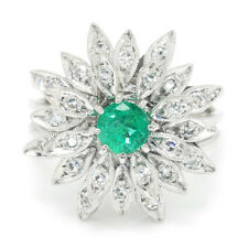 Vintage Emerald Flower Ring with Diamonds 14K White Gold .69ctw
