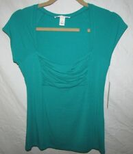 Kenneth Cole Women's XS Shirt Top 424 Sea Color Rayon Spandex