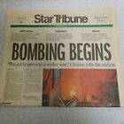 """March 25, 1999 Minneapolis Star and Tribune Front Section, """"Bombing Begins"""""""