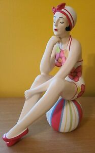 """Large Retro Bathing Beauty On Beach Ball Sculpture Figurine 13 3/4"""" Hand Painted"""