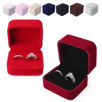 1x Jewelry Velvet Gift Box for Ring Holder Engagement Wedding Bands Present ys
