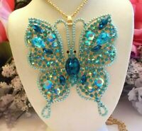 BETSEY JOHNSON LARGE BLUE CRYSTAL & RHINESTONE INLAY BUTTERFLY PENDANT NECKLACE