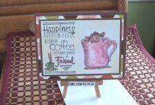 FRIENDSHIP HANDMADE GREETING CARD~HOUSE  MOUSE ~WARM CUP  #emc061