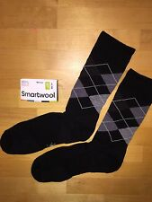 SmartWool Diamond Jim Crew Socks –Black, Patterned Casual Dress Lifestyle–Men LG