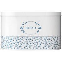 Large Blue Rose Bread Tin Vintage Kitchen Loaf Storage Bin Food Container Home