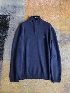 Men Lacoste Jumper Wool Zip Neck Sized 8 3XL Blue