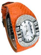 VISAGEXCHANGE:WOMENS ORANGE LEATHER BAND FULL STONES CASE QUARTZ ANALOG WATCH