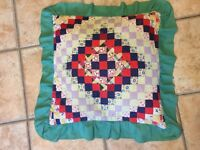 VINTAGE DOWN FEATHER BARNRAISING LOG CABIN PATTERN PILLOW PATCHWORK RUFFLE EUC