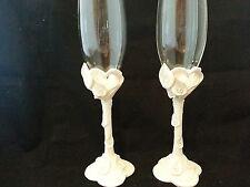 White Calla Lily Lillies wedding glasses glass flutes reception