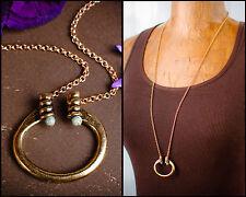 Horseshoe Pendant New Tribal Brass & Blue Green Turquoise Necklace Long pendant