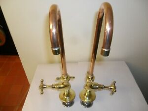 Solid Brass Original vintage Kitchen belfast sinkTaps refurbished reclaimed