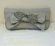 CHLOE GREY CLUTCH WITH SILVER BOW DETAIL