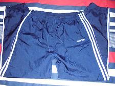 VTG Mens - ADIDAS - 100% NYLON Sweatpants Pants NAVY Blue White - L Large Shiny